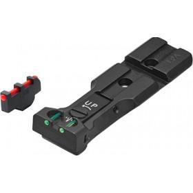 """Tacca di Mira Nera con Fibre Ottiche """"Red Dot Ready"""" + Mirino MP35F con Fibra Ottica, per Relvolver Smith & Wesson - LPA"""
