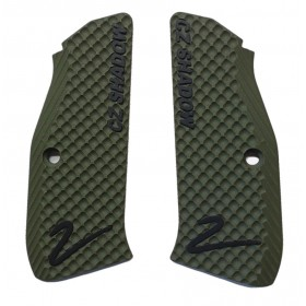 Guancette per Shadow 2 THIN BOGIES (sottili) Solid Green Incise Nere & w/Liner Sabbia - Lok Grips