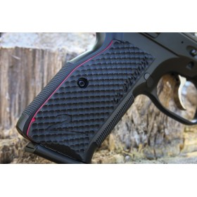 CZ Shadow 2 Grips Palm Swell Bogies in G10 - Engraved - Lok Grips