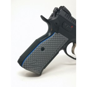 CZ Shadow 2 Grips Palm Swell BOGIES in G10 Grey - Engraved & w/Liner Blue - Lok Grips