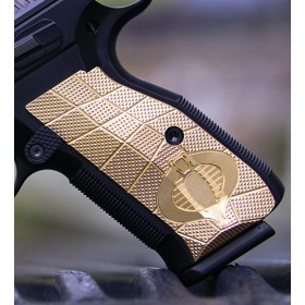 "Guancette per Shadow 2 Palm Swell (Ergonimica) GridLOK in Ottone, texture Aggressive, con ""Cobra"" Inciso - Lok Grips"