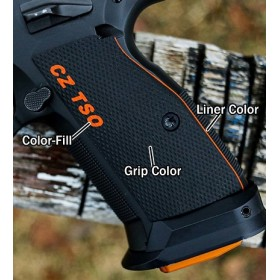 CZ 75 TSO grips Palm Swell Checkered - CZ TSO Color Fill & Liner - Lok Grips